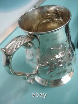 1866 Soulagement Soulevé Royaume-uni Victorian Taxhead Hm Solide En Argent Sterling Tasse Tankard Peut