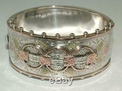 1883 Victorian 9 Ct Gold Solid Charniere Sur Argent Bracelet 41 G Excellent