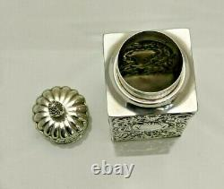1891 Antique Solid Silver Quality Tea Caddy Box William Comyns (1820-9-vgn)