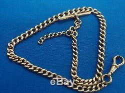 1898 Victorian 9ct Rose Gold Albert Chaîne De Chaînes Link T Bar Clip Clip 31.3g