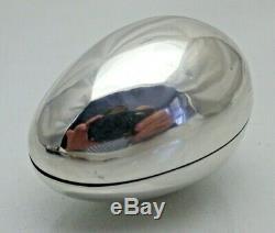 1899 Antique En Argent Massif Egg Forme Boîte De Bague Idéal Pour Anneau Spécial 1462 / C / Wny