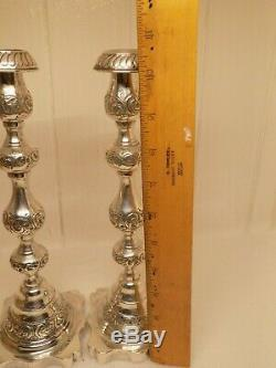 1925 Sigmund Zyto Paire D'anglais Sterling Argent Chandeliers. 325 Grammes. (pne)