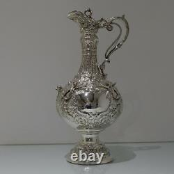 19th Century Antique Sterling Silver Victorian Large Armada Jug London 1895