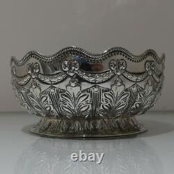 19th Century Antique Victorian Sterling Silver Rose Bowl Londres 1892 Martin Hall