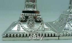 2 1900 Victorienne De Antique En Argent Massif Bougeoirs (deux, Paire) 31cms Vgc