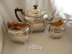 3 Pce Bachelor Taille Tea Service Victorienne Argent Sterling London 1888