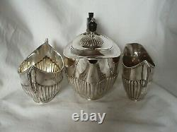 3 Pce Bachelor Tea Service Victorien Sterling Silver London 1896