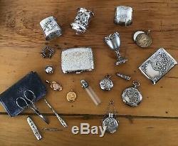 4 Pc Victorienne En Argent Massif Trousse De Couture & Case Aiguille Etui Scissor Antique Ornement