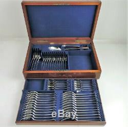 55 Pièces Boxed Argent Vieux Anglais Cantine De Couverts, Londres 1877 Chawner & Co