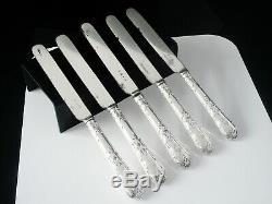 5 Antique Silver Dessert Couteaux, George Adams 1851 & 1854 Modèle Droit Tudor