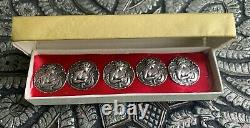 5 X Boutons D'argent Sterling Antiques 22mm