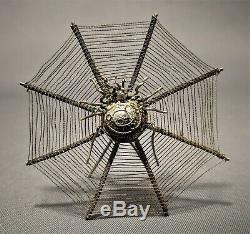 6 Argent Victorienne Rare Antique Spider Web Ornements / Place Carte Cheveux Détenteurs