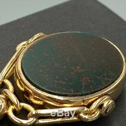 9 Ct Or Jaune Double Antique Sided Fob Pendentif L65