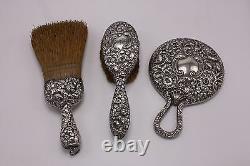 A Sterling 3 Pc Lot Set Antique Vtg Ornate Repousse Vanity Silver Brush Mirror
