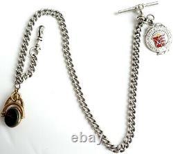 Albert Pocket Montres Chaîne Spinner Et Fob Solid Silver Antique Vintage