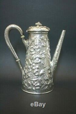 Américain Antique En Argent Sterling Très Repousse Café Chocolat Thé Pot Meilleur