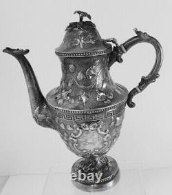 American Coin Silver Coffee Pot Par Harry O. Hood, N. Y, 1841-1844, 11, No Mono