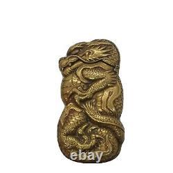 Ancien 1890 En Laiton Match Safe Vesta Case Box Dragon Figuratif Japonais