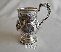 Ancien Tankard D'argent Sterling/mug. C 1873 Birmingham Royaume-uni