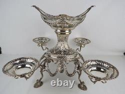 Anglais Sterling Silver Epergne Centerpiece Londres 1891 Par Charles Stuart Harris