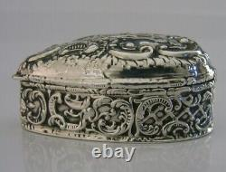 Anglais Victorien Sterling Silver Love Heart Box 1899 Antique