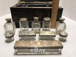 Antique 1800 Vanity Case Boîte Dressing Calamander Ht En Argent Sterling Verre Jars