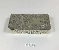 Antique 1857 Victorian Combination Solid Silver Snuff Box Vesta Case 5.4cm Large