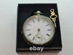 Antique 1870 Victorian 18s Key Wind Fusee Pocket Watch Boîte De Travail Rare