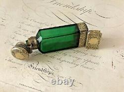 Antique 1877 Sampson Mordan Vinaigrette Vinaigrette Bouteille Avec Finition Dorée En Argent