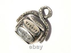 Antique 19ec Silver Spinner Seal Seal Fob Anglais 7 Jours De La Semaine Cw #t279
