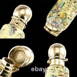 Antique 19thc Victorian 18k Gold & Enamel Scent Bottle, Sampson Mordan Vers 1880