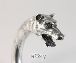 Antique 800 Silver Wolf German Dog Head Poignée Marche C1900 Canne Bâton