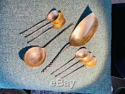 Antique 8pc Serviette 127 Glaces Dessert Ensemble De Service Twist Sterling Silver Spoon