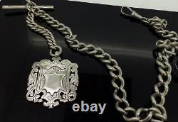 Antique Albertina Fob Chaîne En Argent Massif 925 Entièrement Poinçonnés Bouclier Lourd C1900