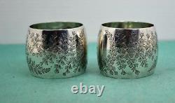 Antique Art Nouveau Sterling Silver Napkin Rings Floral Patt Mappin & Webb 1898