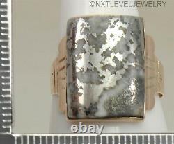 Antique C1900 Victorien Rare Argent En Quartz 14k Massif Rose Or Anneau Pour Hommes