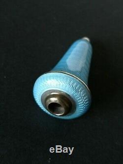 Antique C19th Allemand 835 Bleu D'argent Guilloché Émail Serviteurs De Bell Poussoir