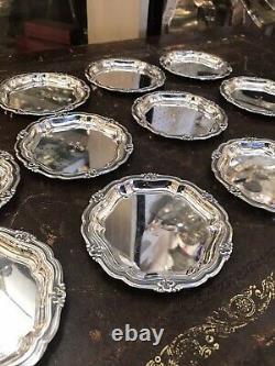 Antique Danish Solid Silver Set 12 Coasters Dish Tray Par S Jensen Danemark 1952