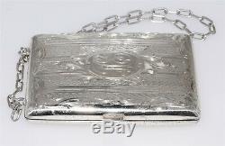 Antique En Argent Sterling Victorienne Monnaie & Porte-carte