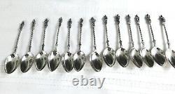 Antique Gorham Full Set Apôtres Small Sterling Silver 6 Cuillères À Thé & Livret