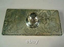 Antique Gorham Sterling Silver Bureau D'encre Buvard, Gravé Floral, No Mono, 175g