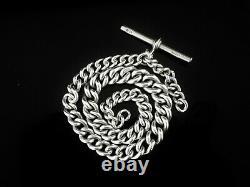 Antique Graduated Silver Pocket Watch Chain, William Joseph Spencer 1894