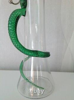 Antique Heath Middleton Victorian Snake Handled Silver Claret Jug 1897