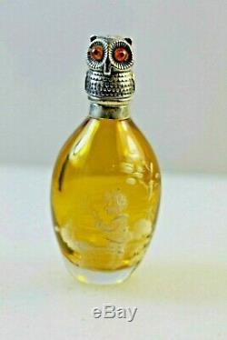 Antique Mary Gregory Ambre Verre Argent Hibou Oiseau Parfum Bouteille De Parfum