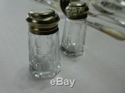 Antique Nacre Couverts Argent Sterling Set De 12 Pièces Plus Shakers