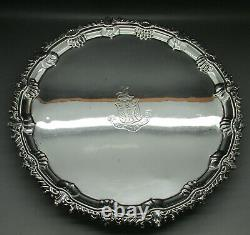 Antique Orné Large Heavy Solid Sterling Silver Salver Tray 31.3cm Londres 1901