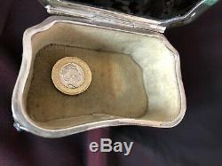 Antique Piqué Écaille D'argent Massif, 204 Gr Boîte Victorienne Trinket