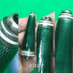 Antique Rare Paire De L'asprey Guilloche Enamel Argent Massif Butler Push Bell