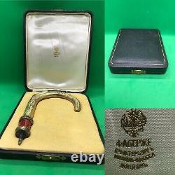Antique Russe Fabergé Enamel Argent Massif Diamants Poignée De Bâton De Marche Et Boîte