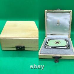 Antique Russe Faberge Guilloche Enamel Argent Massif Diamonds Rub Snuff Box